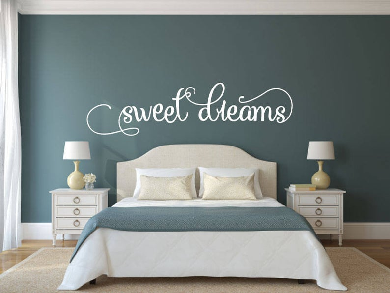 Sweet Dreams - Vinyl Decal Wall Art Decor Sticker - Home Decor Bedroom Child's Bedroom Nursery Baby Girl's Bedroom Guest Room Guest Area v2