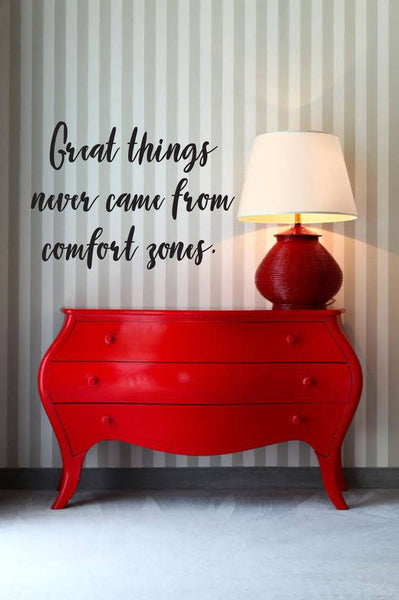 Great Things Never Came From Comfort Zones - Vinyl Decal Wall Art Decor Sticker - Home Decor Family Room Study Bedroom Entryway Craft Room