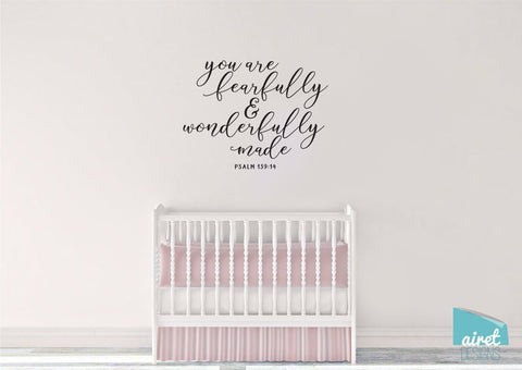 You are Fearfully and Wonderfully Made - Psalm 139:14 - Scripture Bible Verse Vinyl Decal Wall Art Decor Sticker - Baby Child Nursery Room v2