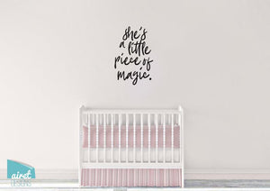 She's a Little Piece of Magic - Vinyl Decal Wall Art Home Decor Sticker - Nursery Baby Infant Girl Children Kid Bedroom Decoration v2