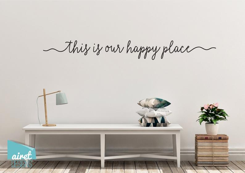 This is Our Happy Place - Vinyl Decal Wall Art Decor Sticker - Home Decor Calligraphy Housewarming Vacation Holiday Home Family Bedroom v2
