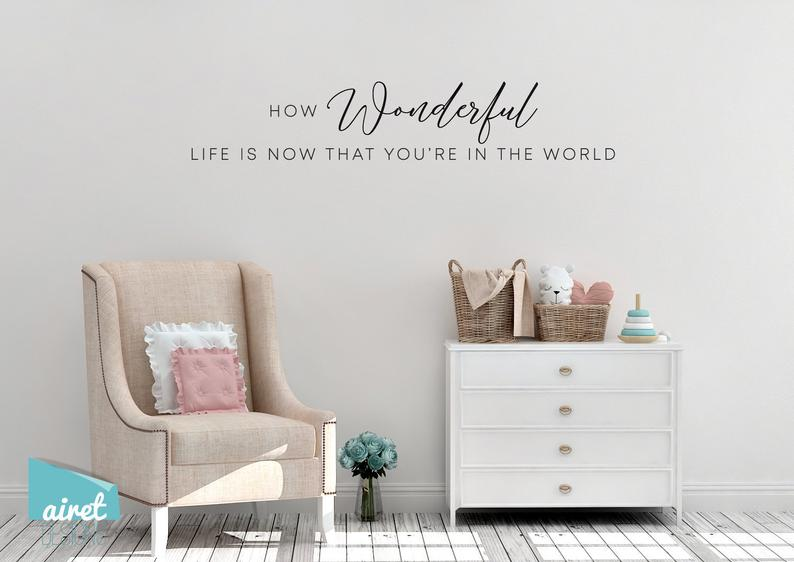 How Wonderful Life is Now That You're in the World- Vinyl Decal Wall Art Decor Sticker - Nursery Baby Child Infant Bedroom v2
