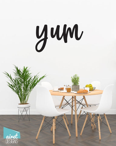 Yum - Vinyl Decal Wall Art Decor Sticker - Home Decor Kitchen Dining Area House Oven Fridge Sink Fun Cooking Bar Table Simple Kitchen Decor v2a