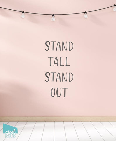 Stand Tall Stand Out Vinyl Decal Wall Art Home Decor Sticker - Flamingo Quote Girl Baby Nursery Kid Child Tween Room Decoration v2