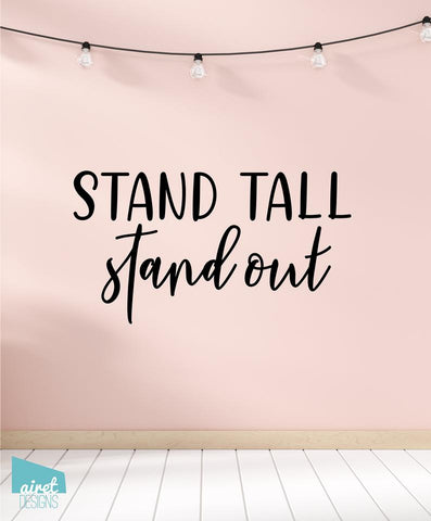 Stand Tall Stand Out Vinyl Decal Wall Art Home Decor Sticker - Flamingo Quote Girl Baby Nursery Kid Child Tween Room Decoration v2a