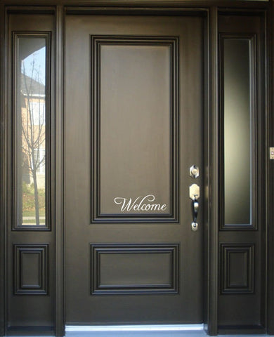 """Welcome"" -  Front Door Window Vinyl Decal Sign"
