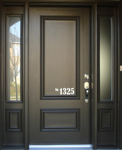 House Number Front Door Vinyl Decal Sign - v2