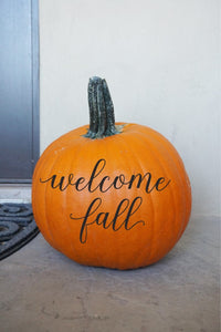Welcome Fall - Scripted Calligraphy Halloween Fall Autumn Decor Pumpkin Decal Vinyl Sticker