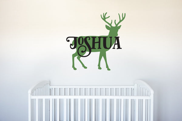Deer Name - Vinyl Decal Wall Art Decor for Forest Hunting Animal Nursery Children Babies