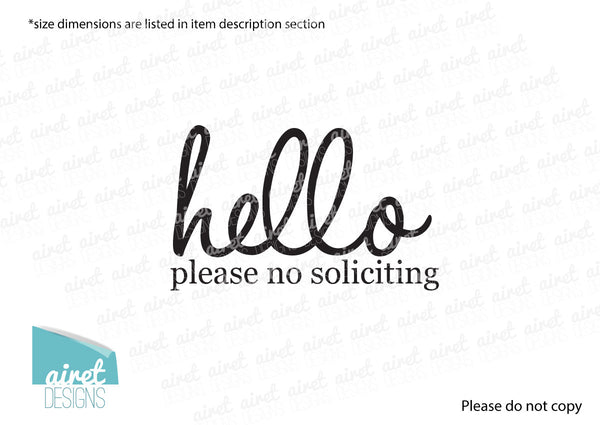 Hello Please No Soliciting Sign Vinyl Decal Sticker