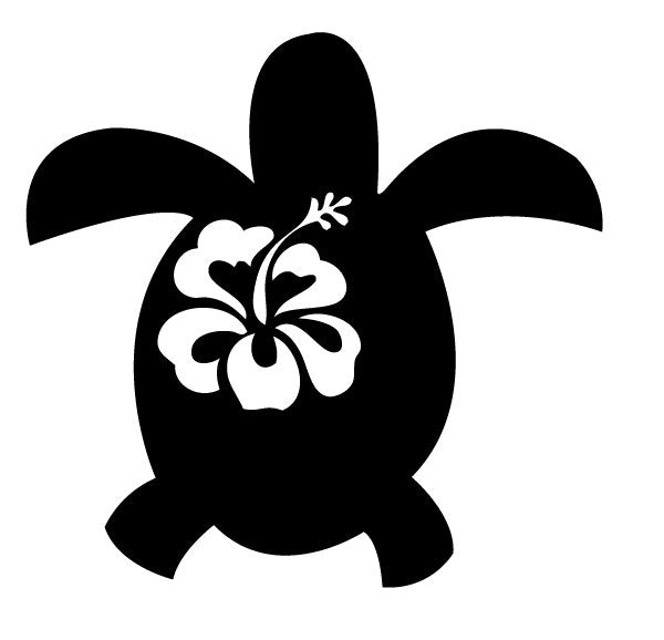 Turtle Hibiscus Flower Tropical Beach Hawaiian Vinyl Decal Sticker