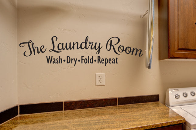 The Laundry Room Decal Vinyl Sticker -Wash, Dry, Fold, Repeat - Home Decor