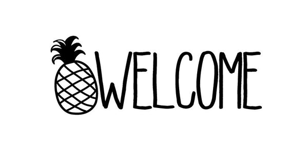 Pineapple Welcome Front Door Vinyl Decal Sign
