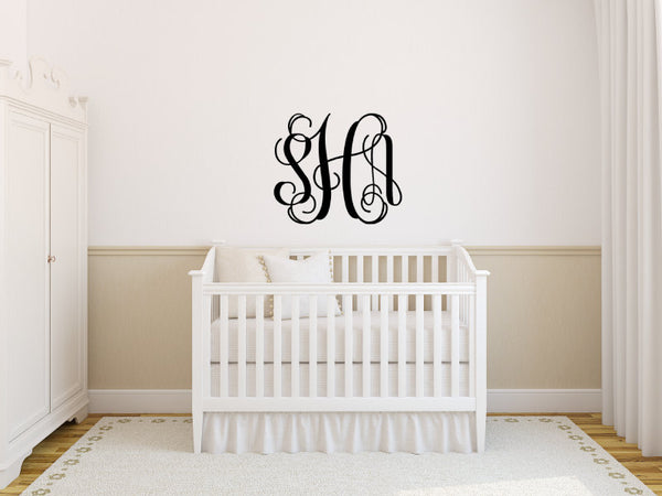 Custom Monogram Swirly 3 Letter Initial Bedroom Wall Vinyl Decor - Nursery, Girl, Bedroom