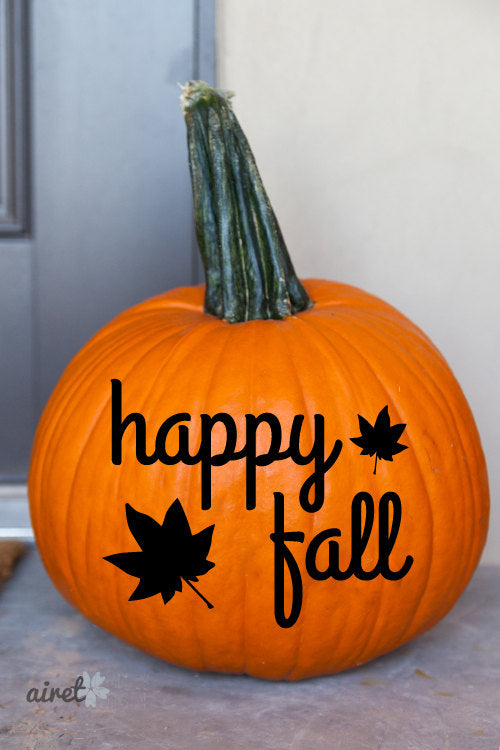 Happy Fall With Leaves Halloween Fall Autumn Decor Pumpkin Decal Vinyl Sticker