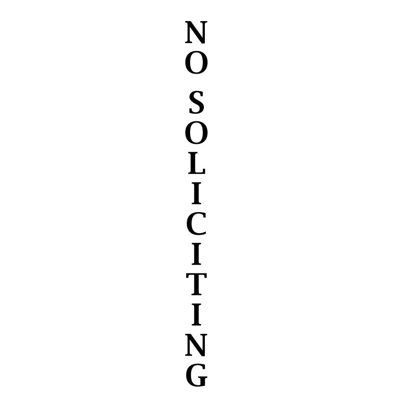No Soliciting Vertical Sign Vinyl Decal Sticker