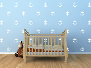 Anchor Wall Decals Set - Set of 30 anchors - 4 inches - Nautical Decor Pattern Wall Vinyl Stickers