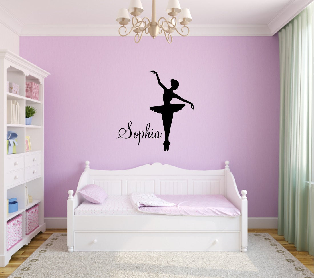 Ballerina Dancer with Custom Name Silhouette