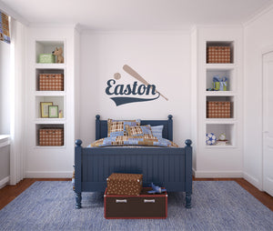 Baseball Bat and Ball with Custom Name - Sports Boys Bedroom Nursery