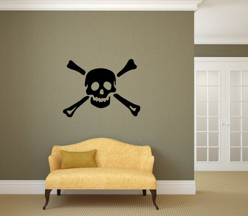 Pirate Skull Cross Bones Vinyl Decal Wall Art Decor Silhouette
