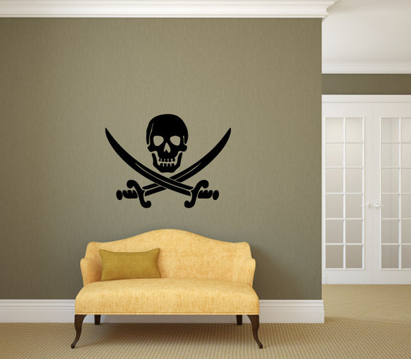 Pirate Skull Sword Vinyl Decal Wall Art Decor Silhouette