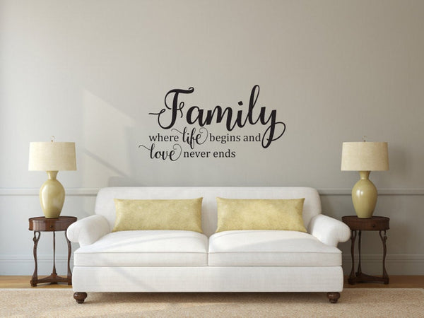Family Where Life Begins and Love Never Ends - Vinyl Wall Decal