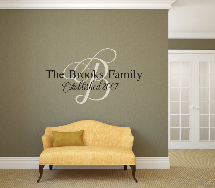 Family Name, Monogram, and Established Year Vinyl Wall Decal