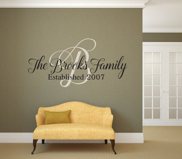 Family Name, Monogram, and Established Year Vinyl Wall Decal - v2