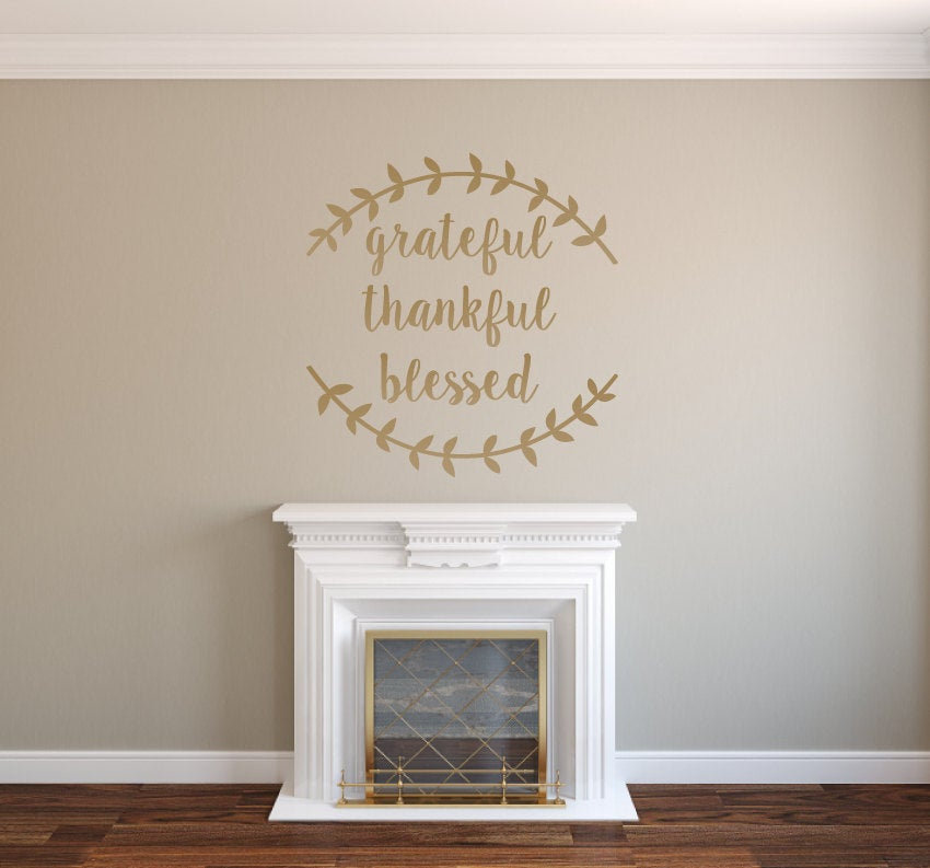 Grateful Thankful Blessed with Vine Greek Leaves - Vinyl Wall Decor Decal