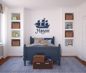 Pirate Ship Boat with Name - Vinyl Decal Wall Art Decor Silhouette -v2