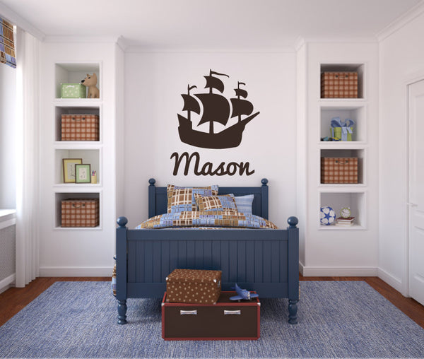Pirate Ship Boat with Name - Vinyl Decal Wall Art Decor Silhouette