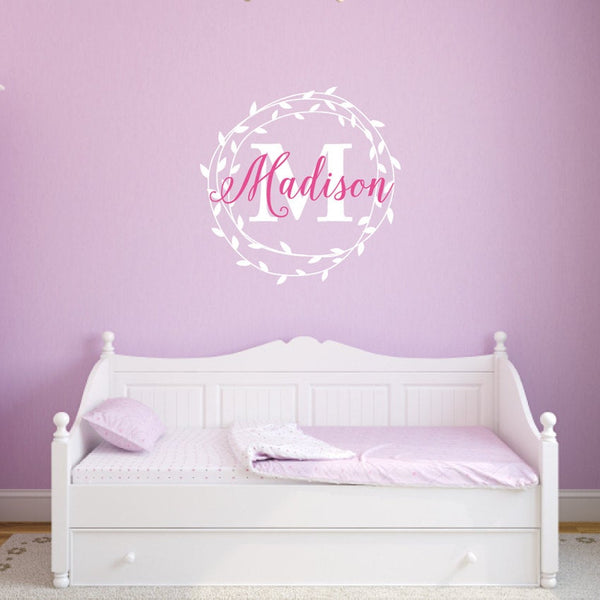 Monogram Girl Name Leaf Wreath Custom Girls Name Bedroom Nursery - Vinyl Wall Decor Decal v2