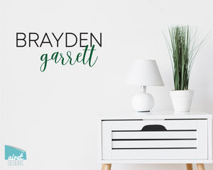 Custom Names - First Name and Middle Name Modern Script Fonts - Vinyl Decal Wall Art Decor Sticker