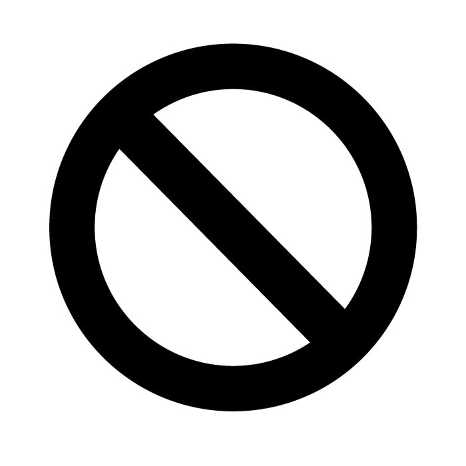 No No Circle Stop Cross Out Sign Logo Vinyl Decal Sticker - Choose Size & Color