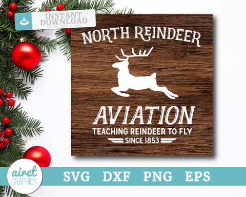 North Reindeer Aviation - Digital Cut File Download SVG EPS DXF PNG