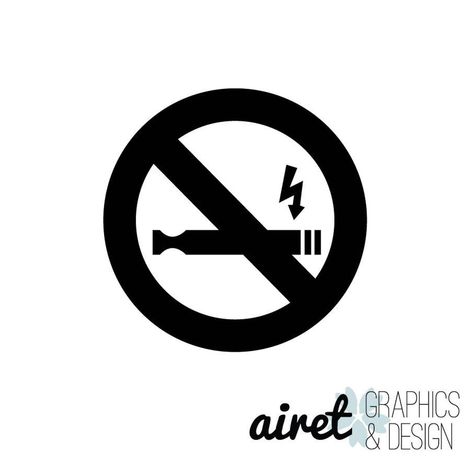 No Vaping Sign Logo Icon Vinyl Decal Sticker - Choose Size & Color
