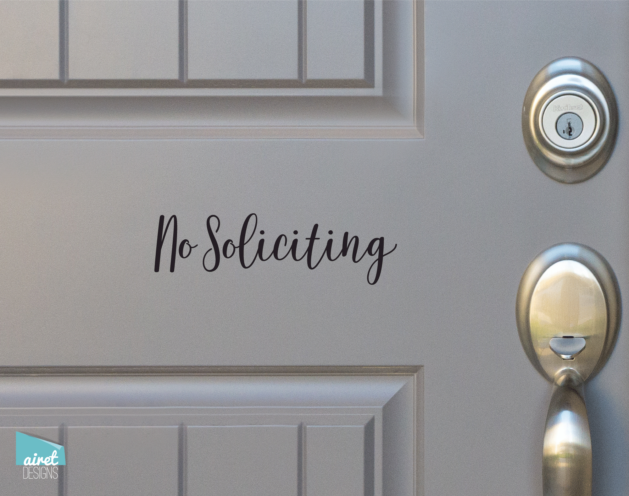No Soliciting - Script Vinyl Decal Sticker Sign v7