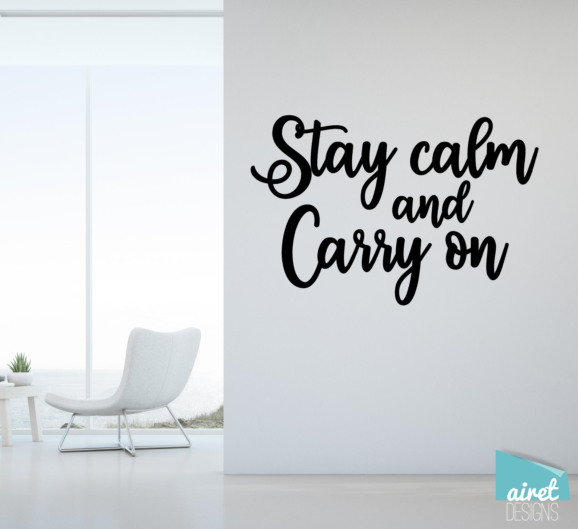 Stay Calm and Carry On - Vinyl Decal Inspirational Wall Decor Sticker Sign