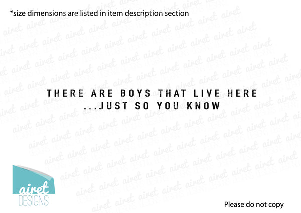 There Are Boys That Live Here. Just So You Know - Vinyl Decal Busy Home Life Funny Decor Sticker Home Sign