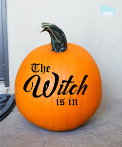 The Witch Is In - Happy Halloween Fall Autumn Decor Pumpkin Decal Vinyl Sticker GLOSS v2