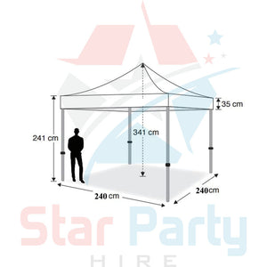 POP UP Marquee with White PVC Roof  2.4M X 2.4M