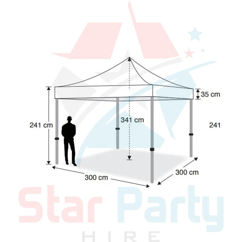 POP UP Marquee with White PVC Roof  3M X 3M