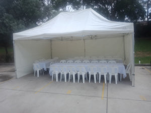 POP UP Marquee with White PVC Roof  8M X 8M