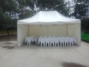 POP UP Marquee with White PVC Roof  4M X 12M