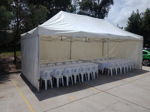 POP UP Marquee with White PVC Roof  4M X 16M