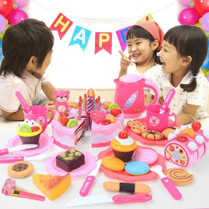 Kids Pretend Role Play Toys Set Birthday Cake & Fruits Cutting