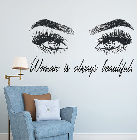 woman make up wall sticker eye eyelashes wall decal – ecasastores
