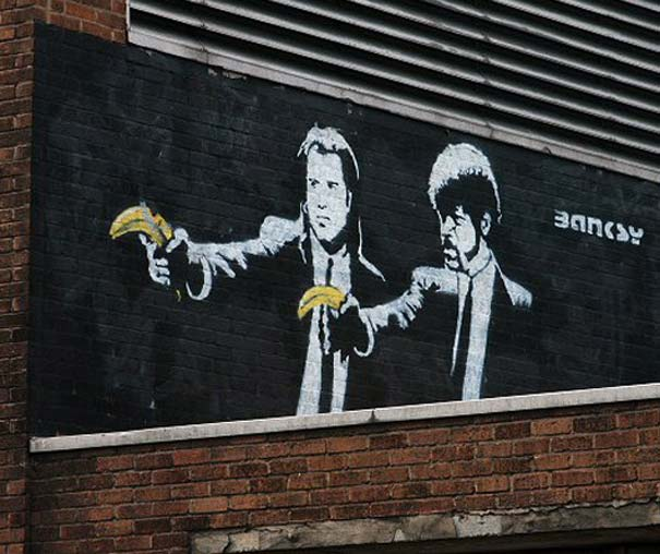 Graffiti Street art Pulp Fiction de Banksy en 2002