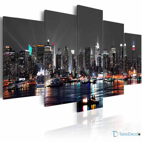 Tableau New York City by night en 5 panneaux