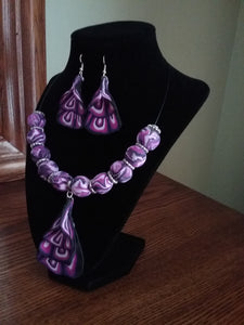 Set Jewelry Multi Purple Necklace & Earrings Handmade Art by Maria Iliescu Gift Polymer Clay - HANDMADE ART BY MARIA ILIESCU